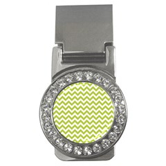 Spring Green And White Zigzag Pattern Money Clip (cz) by Zandiepants