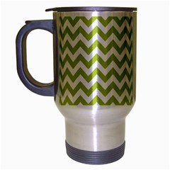 Spring Green And White Zigzag Pattern Travel Mug (silver Gray) by Zandiepants
