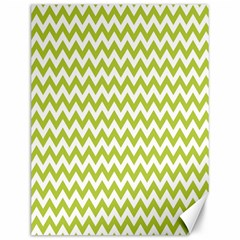 Spring Green And White Zigzag Pattern Canvas 12  X 16  (unframed) by Zandiepants