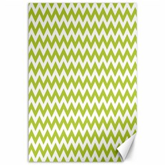 Spring Green And White Zigzag Pattern Canvas 12  X 18  (unframed) by Zandiepants