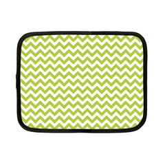 Spring Green And White Zigzag Pattern Netbook Sleeve (small) by Zandiepants