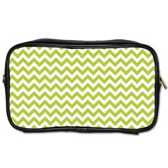 Spring Green And White Zigzag Pattern Travel Toiletry Bag (two Sides) by Zandiepants