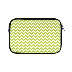 Spring Green And White Zigzag Pattern Apple Ipad Mini Zippered Sleeve by Zandiepants