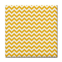 Sunny Yellow And White Zigzag Pattern Ceramic Tile by Zandiepants