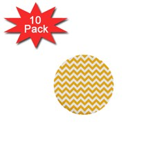 Sunny Yellow And White Zigzag Pattern 1  Mini Button (10 Pack) by Zandiepants