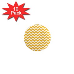 Sunny Yellow And White Zigzag Pattern 1  Mini Button Magnet (10 Pack) by Zandiepants
