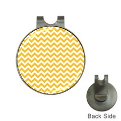 Sunny Yellow And White Zigzag Pattern Hat Clip With Golf Ball Marker by Zandiepants