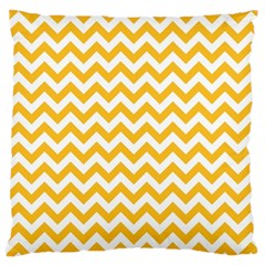Sunny Yellow And White Zigzag Pattern Large Cushion Case (two Sided)  by Zandiepants