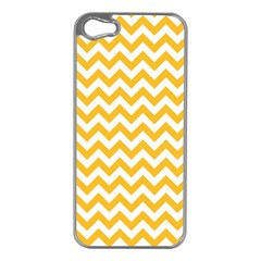 Sunny Yellow And White Zigzag Pattern Apple Iphone 5 Case (silver) by Zandiepants
