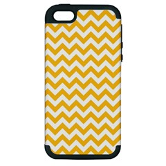 Sunny Yellow And White Zigzag Pattern Apple Iphone 5 Hardshell Case (pc+silicone) by Zandiepants