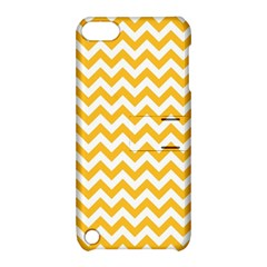 Sunny Yellow And White Zigzag Pattern Apple Ipod Touch 5 Hardshell Case With Stand