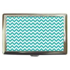 Turquoise And White Zigzag Pattern Cigarette Money Case by Zandiepants
