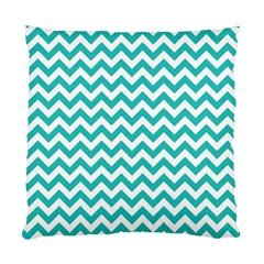 Turquoise And White Zigzag Pattern Cushion Case (single Sided)  by Zandiepants