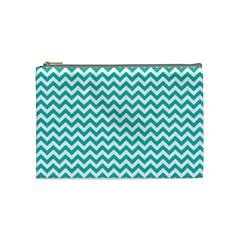 Turquoise And White Zigzag Pattern Cosmetic Bag (medium) by Zandiepants