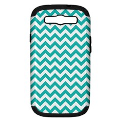 Turquoise And White Zigzag Pattern Samsung Galaxy S Iii Hardshell Case (pc+silicone) by Zandiepants