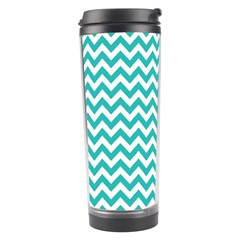 Turquoise And White Zigzag Pattern Travel Tumbler by Zandiepants