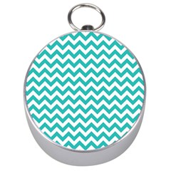 Turquoise And White Zigzag Pattern Silver Compass by Zandiepants