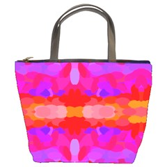 Purple, Pink And Orange Tie Dye  By Celeste Khoncepts Com Bucket Handbag