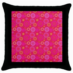 Psychedelic Kaleidoscope Black Throw Pillow Case by StuffOrSomething