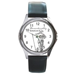 Domestically Disabled Round Leather Watch (silver Rim) by StuffOrSomething