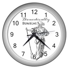 Domestically Disabled Wall Clock (silver) by StuffOrSomething