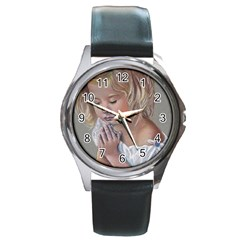 Prayinggirl Round Leather Watch (Silver Rim)