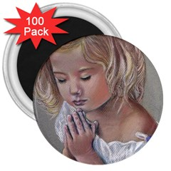 Prayinggirl 3  Button Magnet (100 pack)
