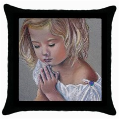 Prayinggirl Black Throw Pillow Case