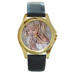 Prayinggirl Round Leather Watch (Gold Rim)