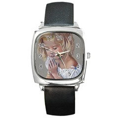 Prayinggirl Square Leather Watch