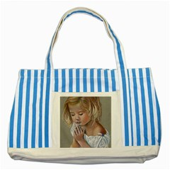 Prayinggirl Blue Striped Tote Bag