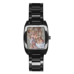 Prayinggirl Stainless Steel Barrel Watch