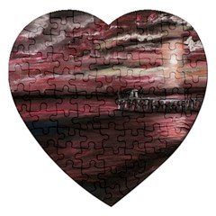 Pier At Midnight Jigsaw Puzzle (heart) by TonyaButcher