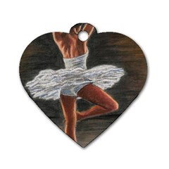 Ballet Ballet Dog Tag Heart (one Sided)  by TonyaButcher