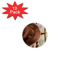 Hat On The Fence 1  Mini Button Magnet (10 Pack)