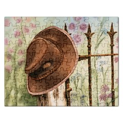 Hat On The Fence Jigsaw Puzzle (rectangle) by TonyaButcher