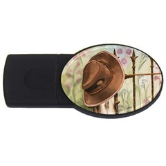 Hat On The Fence 4gb Usb Flash Drive (oval) by TonyaButcher