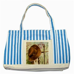 Hat On The Fence Blue Striped Tote Bag