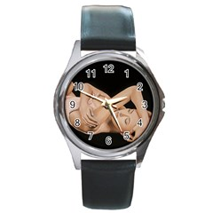 Gentle Embrace Round Leather Watch (silver Rim)