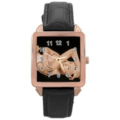 Gentle Embrace Rose Gold Leather Watch  by TonyaButcher