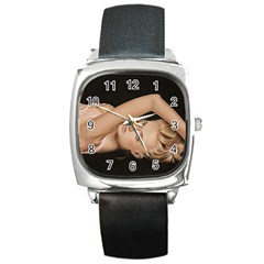 Alluring Square Leather Watch
