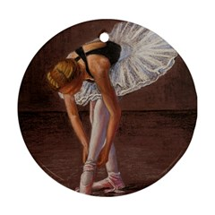 Ballerina Round Ornament (two Sides) by TonyaButcher