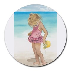 Beach Play Sm 8  Mouse Pad (round) by TonyaButcher