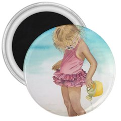 Beach Play Sm 3  Button Magnet by TonyaButcher