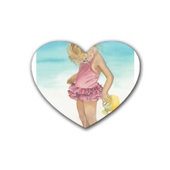 Beach Play Sm Drink Coasters (heart) by TonyaButcher