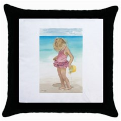 Beach Play Sm Black Throw Pillow Case by TonyaButcher