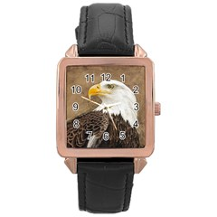 Eagle Rose Gold Leather Watch