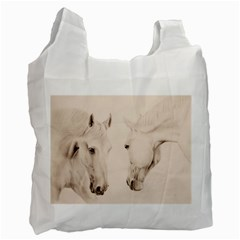 Tender Approach  White Reusable Bag (one Side) by TonyaButcher