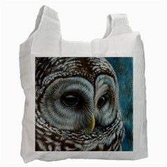 Barred Owl White Reusable Bag (one Side) by TonyaButcher