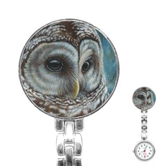 Barred Owl Stainless Steel Nurses Watch by TonyaButcher